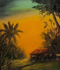 Hawaii Sunset Art, Hawaiian art prints, hawaiian Homestead painting by hawaii artist Donald K Hall #05