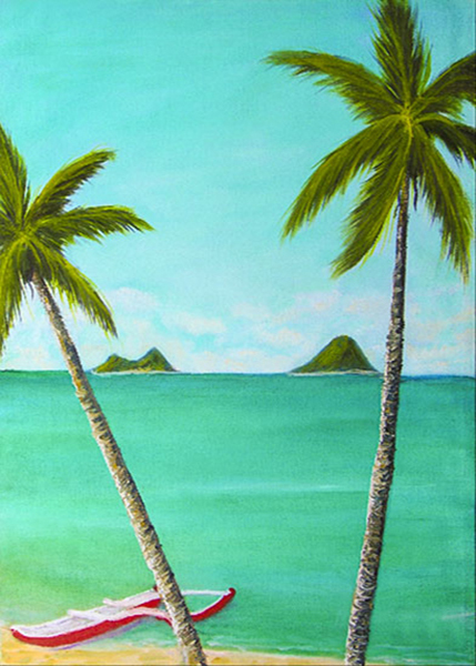 "hawaiian Art painting and Prints, ""Lanikai"",  Original Oil painting by hawaii beach Artist Donald K. Hall #07"