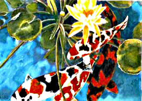 Hawaii Art, Marinelife Hawaiian art Koi Fish water color painting by Hawaii Marine Life Artist Donald K. Hall #104