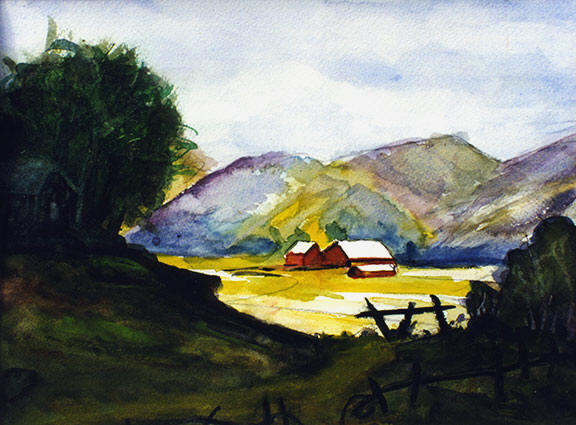 landscapes up country farm original water color by hawaii artist Donald  K. Hall #111