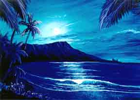 Hawaii Sunset Art, Diamond Head Moon prints #123