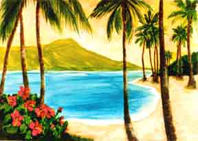 "Hawaiian Art Prints, landscape Diamond Head,"" water color painting by Hawaii artist Donald K. Hall #127"