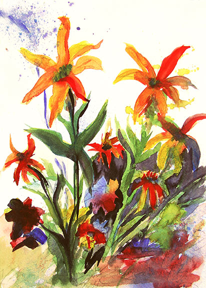 Impressionist  Water Color Painting flowers by Hawaii Impressionist Artist Donald K. Hall #147