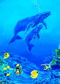 Hawaii Artr, Marinelife Hawaiian oil painting Humpback Whales by Hawaii artist Donald K. Hall #14