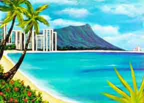 Hawaii Art Prints, landmark Waikiki Beach, Diamond Head by Hawaii Diamondhead Waikiki artist Donald K. Hall #150