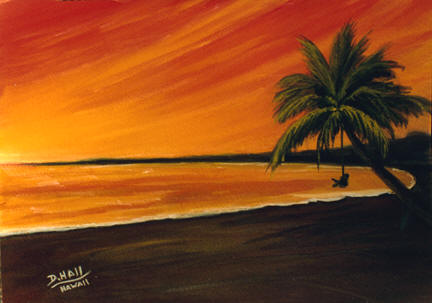"Hawaii Sunset Art, Hawaii art prints,""  Hanging out at the Beach"", by Hawaii artist Donald K. Hall #153"