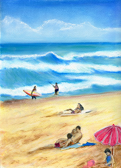 "Tropical beach picture, hawaiian beach painting, hawaiian beaches ,""Waimea Beach Park"", pastel painting by hawaii artist Donald K. Hall #189"