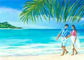 "Hawaii Art print, Hawaiian Beaches ""A walk on Waikiki  Beach"",  by Hawaii Artist Donald K. Hall #190"