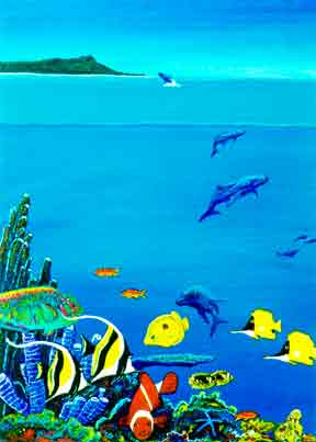 "Hawaiian art prints, ""Hawaiian Reef,""  painting by Hawaii atist Donald K. Hall #193"