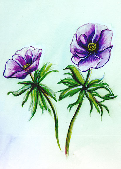 "Original Water Color Painting ,"" Anemone Frlowers"",   by Hawaii artist Donald K. Hall #197"