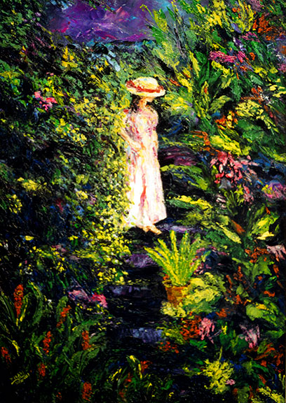 Impressionist landscape enchanted garden oil painting by hawaii Artist Donald K. Hall #200