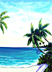 "tropical beach picture hawaiian beach painting, ""Paradise Cove"",  original Oil painting by hawaii Artist Donald K. Hall #203"