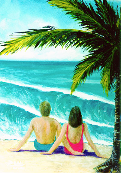"Tropical beach picture, hawaiian beach painting,, ""Haleiwa Beach"",  original water color painting by hawaii artist Donald K. Hall #211"