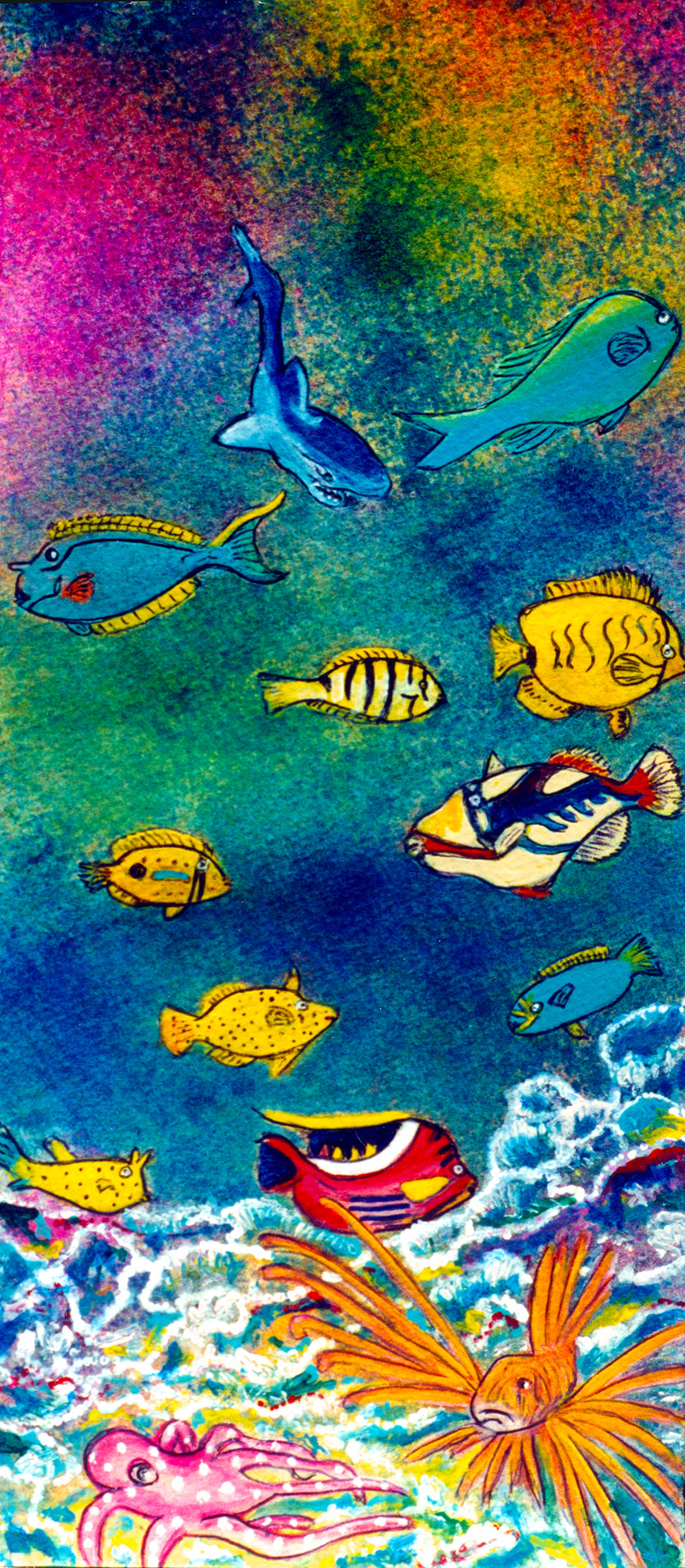 Marine Life, Hawaiian Reef, by Hhawaii Artist Donald K. Hall Gallery of fine Hawaiian Art. #223