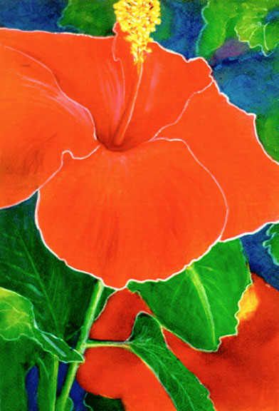 hawaiian Art Picture, Hibiscus flower, Original water color painting by hawaii artist Donald K. Hall #250