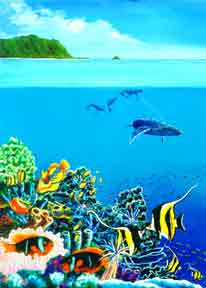 Hawaii art painting and prints, Hawaiian Reef with Humpback Whales by hawaii Marine Life Artist Donald K. Hall #252