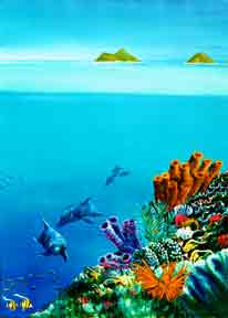 Hawaii Art, Hawaiian Reef with Dolphins, Hawaiian Art by Donald K. Hall #253