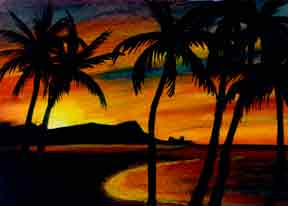 "Hawaii Sunset Art, Hawaiian art prints, ""Diamond Head Sunrise,"" painting by hawaii artist Donald K. Hall #266"