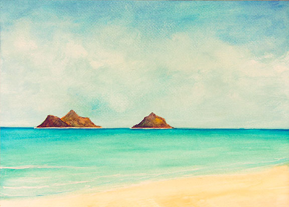 Tropical beach picture, hawaiian beach painting, Moku Islands Lanikai Pastel  painting by hawaii artist Donald K. Hall #277