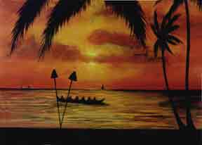 "Hawaii Sunset Art, Hawaiian Art Prints, ""Sunset Paddlers,"" painting by hawaii artist Donald K. Hall #283"