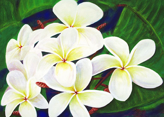 Plumeria  flower, Original Water Color painting by Hawaii artist Donald K. Hall #289