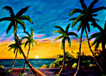 Hawaii Sunset Art, paintings by Hawaii artist Donald K. Hall.