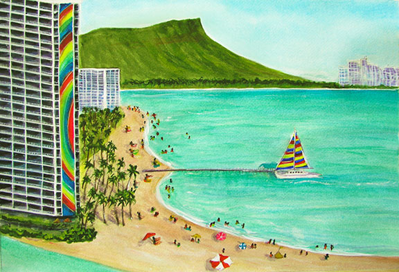 Diamond Head Hawaii Art paintings,  Prints, Landscape Diamond  Head painting by Hawaii artist Donald K Hall.