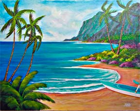 Tropical beach picture, hawaiian beach painting, paradise Found Acrylic painting by hawaii artist Donald K. Hall #333