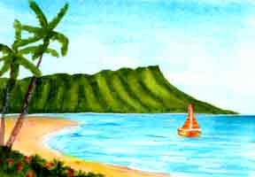 Hawaiian Art Prints, landmark Waikiki Beach and Diamond Head original acrylic painting by Hawaii artist Donald K. Hall #334
