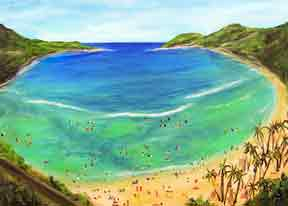 Tropical beach picture, hawaiian beach painting, Hanauma Bay Oahu hawaiiL Acrylic painting by Hawaii artist Donald K. Hall #336