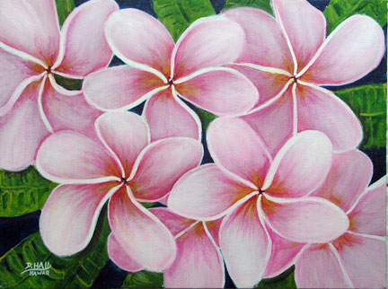Pink Plumeria Flower Hawaiian art original Water Color painting  by Hawaii Flower artist Donald K. Hall #338