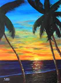 Hawaii Sunset Art, Hawaiian art prints, hawaii Sunset, painting by hawaii artist Donald K. Hall #340