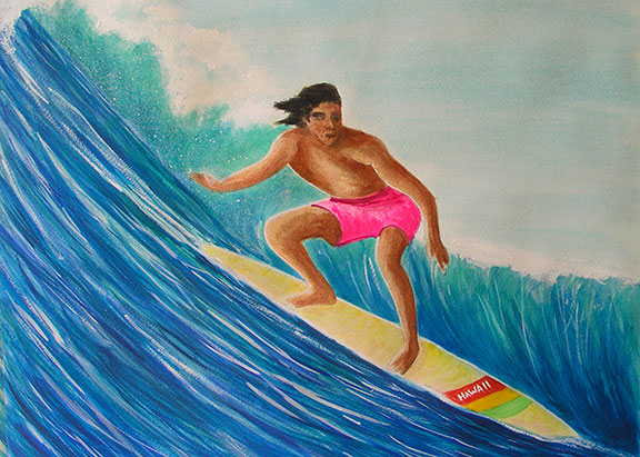 "Sascape"" Big Wave Surfer,"" Original Water Color Painting by Hawaii artist Donald K. Hall #341"
