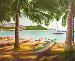Hawaii Art Picture, Diamond Head, Waikiki and Outrigger Canoe's, Oahu, HawaiiL water color painting by Hawaii artist Donald K. Hall #344