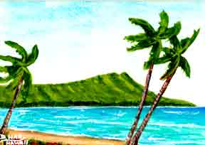 "Hawaii Art Prints, landscape Diamond Head,"" painting by Hawaii artist Donald K. Hall #351"