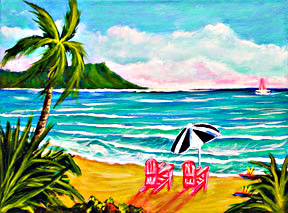 Diamond Head & Waikiki Beach, Hawaii tropical beach painting and Beach art prints,  by Hawaii Beach artist Donald K. Hall #254