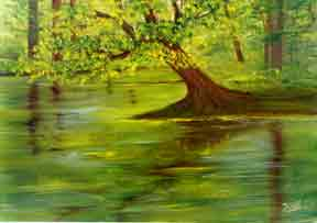 hawaiian Art Picture, oil painting  Lake Wilson Oahu by Hawaii artist Donald  K. Hall #35