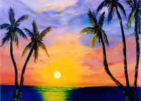 hawaiian art prints, hawaii sunset, painting by hawaii artist Donald K. Hall #36