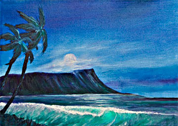 Hawaii Sunset Art, Hawaiian Art Prints, landscape Diamond  Head, original Oil painting by hawaii artist Donald K. Hall #371