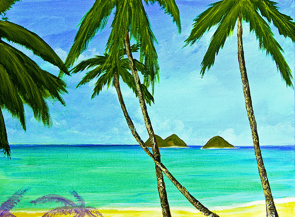 Lanikai Beach Hawaiian Tropical Beach Oahu, art prints and painting  for sale by Hawaii artist Donald K. Hall #375
