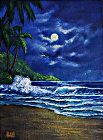 "Hawaii Sunset Art, Hawaii beach moonscape painting original Oil and art prints  ""Moonscape"", by hawaii sunset artsit Donald K. Hall #377"
