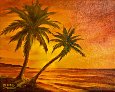 Hawaii Sunset Art, Hawaiian Sunsets, Original Oil painting by hawaii artist Donald K. Hall #380