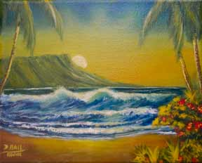 "Hawaii Sunset Art, Hawaii art prints, landscape,"" Diamond Head Sunrise,"" by hawaii Diamond Head Waikiki artist Donald K. Hall #381"