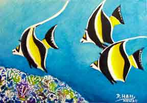 Hawaii Art, Marinelife Hawaiian art Tropical Fish Moorish Idol Fish acrylic painting by Hawaii Marine Life Artist Donald K. Hall #383