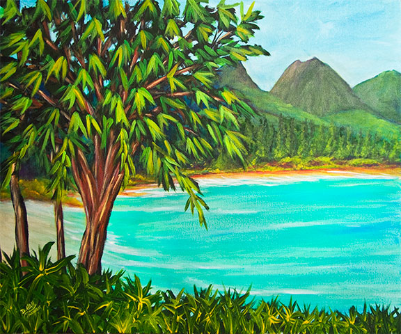 hawaii Waimanalo Beach art Painting prints, Acrylic painting by hawaii beach artist Donald K. Hall #385