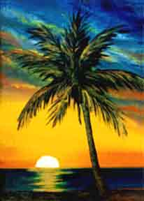 Hawaii Sunset Art, Hawaiian Art Prints, hawaii Sunset painting by hawaii artist Donald K. Hall #38