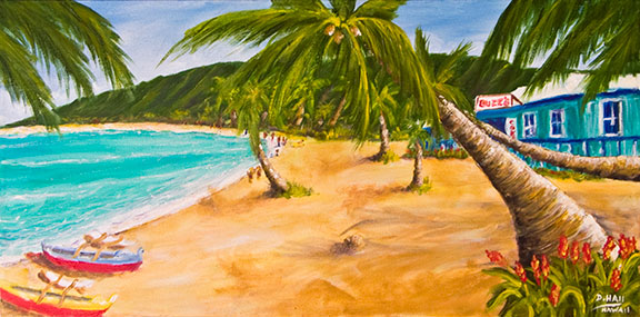 Original Oil Painting, Kailua Beach ,Buzz's, Oahu, hawaii #393