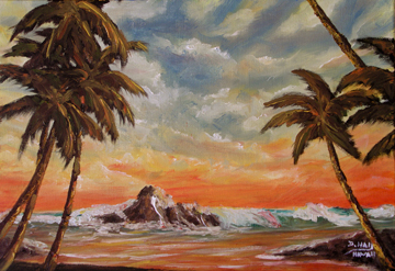 "Hawaii Sunset Art, Hawaiian Moon,tropical Hawaiian beach painting, ""Hawaiian Moon"",  original Oil painting by hawaii Artist Donald K. Hall #394"