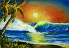 Hawaii Sunset Art, Tropical hawaiian Sunset by hawaii ArtistDonald K. Hall #399