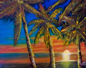 "Hawaii Sunset Art, Hawaiian Moon,tropical Hawaiian beach painting, ""Hawaiian Moon"",  original Oil painting by hawaii Artist Donald K. Hall #404"